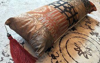 diy boho chic patchwork lumbar pillow, how to, painting, pallet, reupholster