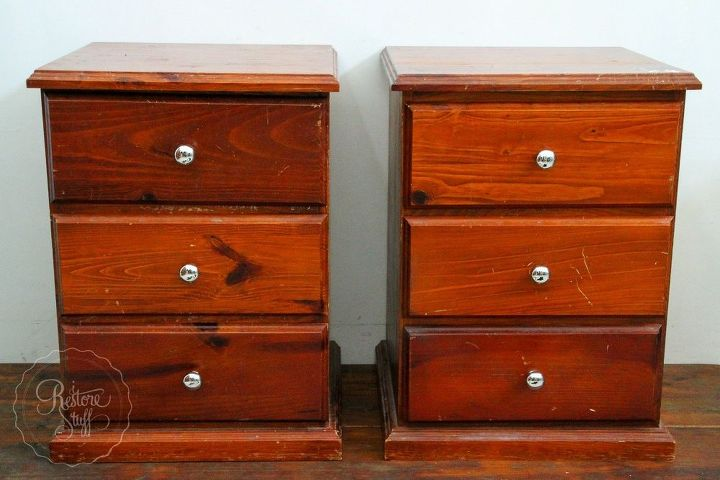how to create a faux denim look on painted furniture, how to, painted furniture, My canvas dated orange pine bedsides