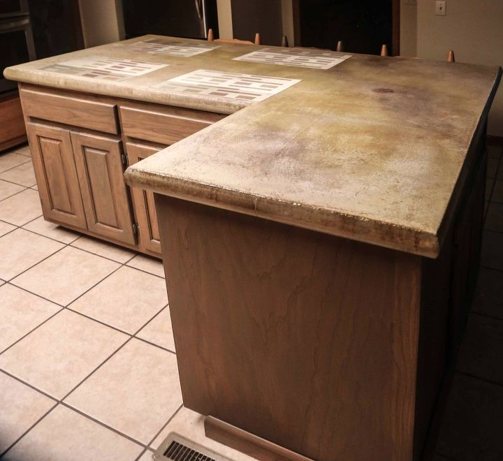 q cement counter tops may be not all they re cracked up to be help , concrete masonry, concrete repair, countertops, So I started n the island Grey wash over oak Looks better to me but I can tell that we still need to rethink the tops IDEAS