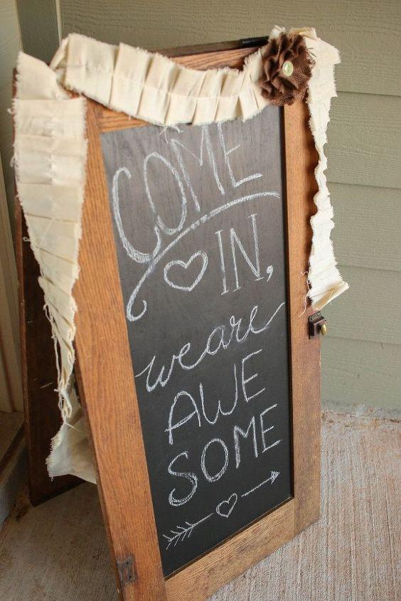 diy bistro sign from repurposed cabinet doors, chalkboard paint, crafts, doors, kitchen cabinets, kitchen design