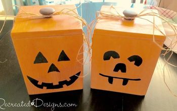 wood canisters turned jack o lanterns, chalk paint, crafts, halloween decorations, outdoor living, painting