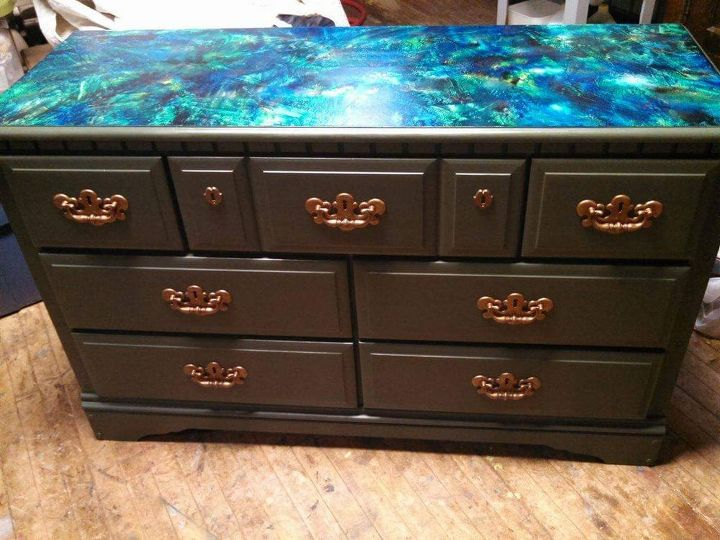 vibrant splatter took this 80 s dresser to new heights , painted furniture