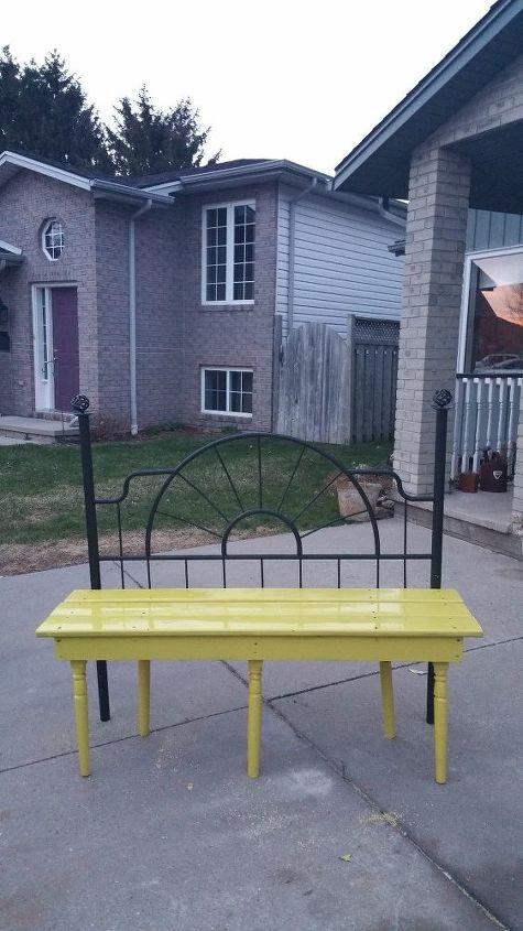 Up Cycle Yellow Bench Made From A Headboard Hometalk
