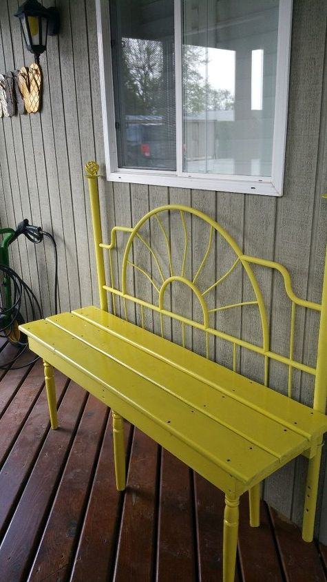 up cycle yellow bench made from a headboard, outdoor furniture, repurposing upcycling