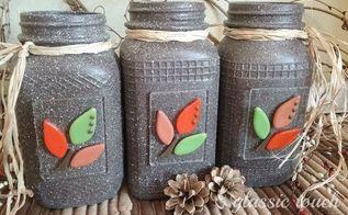 embellished painted mason jar fall decor, home decor, mason jars
