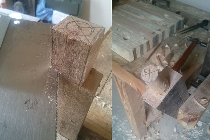 Tenons being cut and rounded.