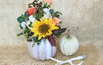 DIY Easy Fall Pumpkin Arrangement