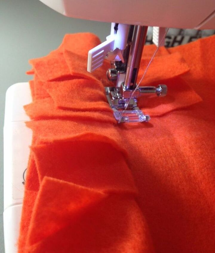 Sewing down the middle of each strip