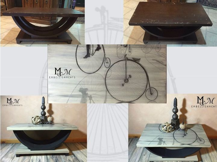 hand stained bicycle penny farthing table stain shading , living room ideas, painted furniture, repurposing upcycling, rustic furniture, urban living
