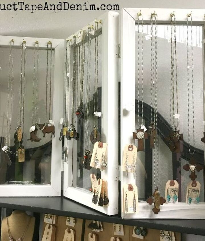 jewelry display from upcycled windows thrift store find , crafts, organizing, repurposing upcycling, shelving ideas