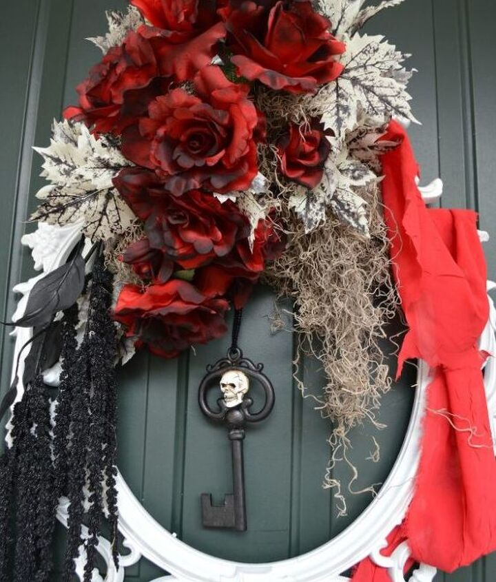 use a picture frame to create this elegant halloween wreath, crafts, halloween decorations, seasonal holiday decor, wreaths