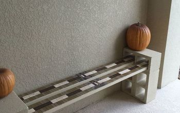 free cinder block porch bench, outdoor furniture