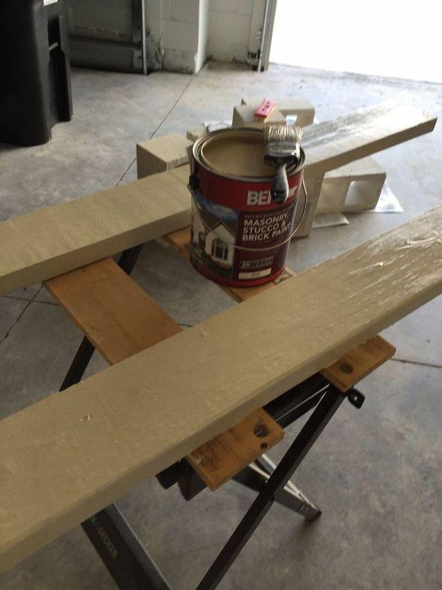 free cinder block porch bench, outdoor furniture