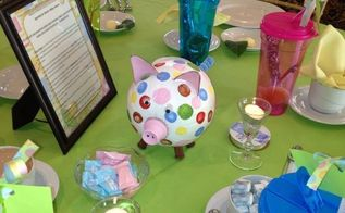 fall baby shower idea, bathroom ideas, bedroom ideas, Pig centerpiece take home gifts agenda