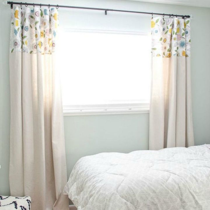 s 15 window curtain ideas for under 15, home decor, window treatments, Glue a band of colored fabric to the top