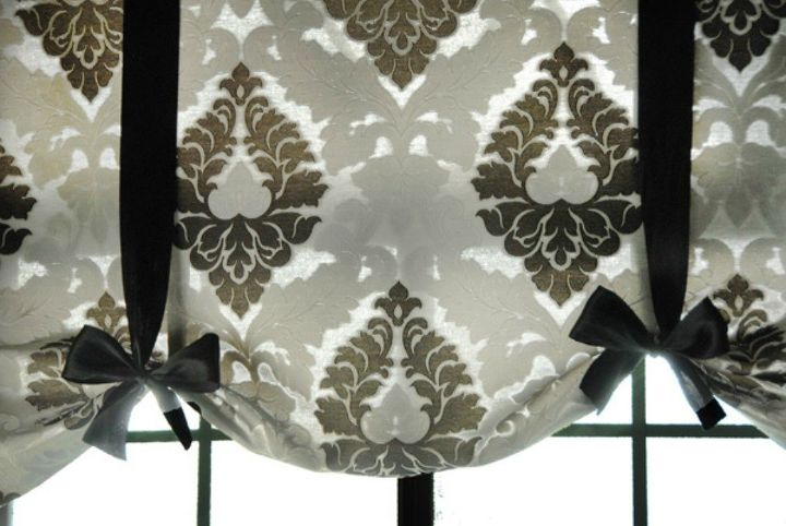 s 15 window curtain ideas for under 15, home decor, window treatments, Create elegant tie up shades with ribbon