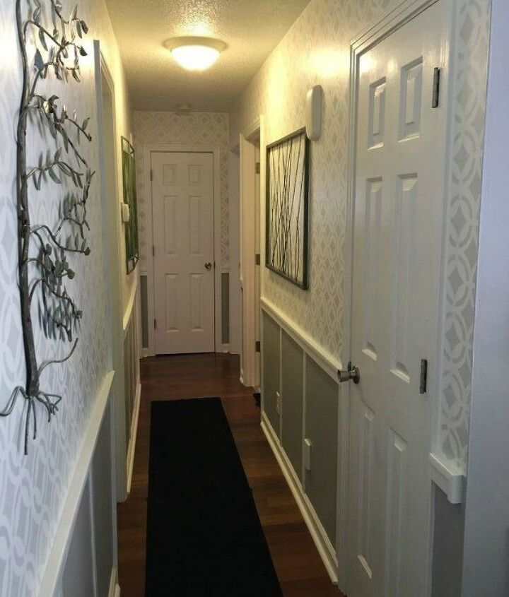 s if your hallway is dark here is what you re missing, foyer, Add board and batten with some stencils