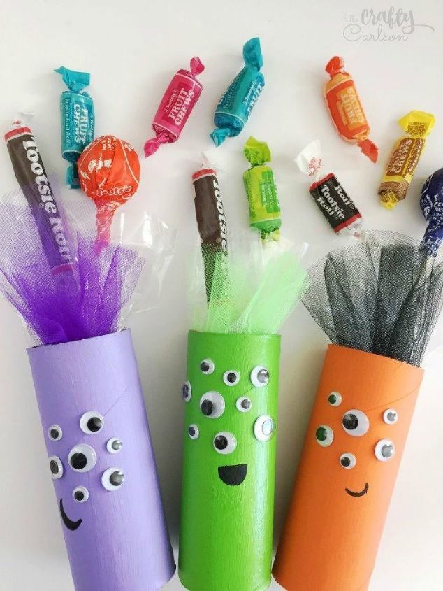 s grab toilet paper for these halloween ideas, bathroom ideas, halloween decorations, seasonal holiday decor, Make adorable monster candy tubes