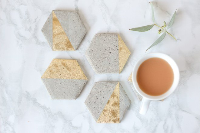 simple diy cement coasters, concrete masonry, crafts, dining room ideas, halloween decorations, home decor, home improvement, painted furniture