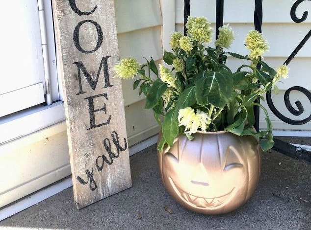 s 9 reasons we can t stop buying pumpkin candy buckets, They make chic fall planters