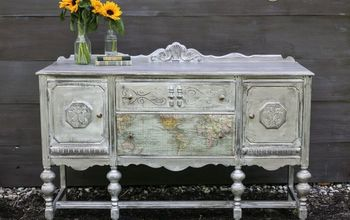 antique buffet makeover, repurposing upcycling