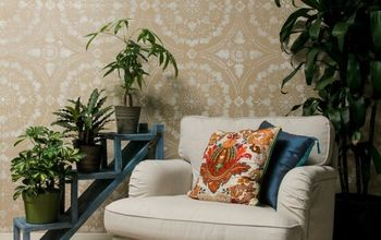 DIY Stencil Tutorial: Paint a Linen Fabric Wall Finish