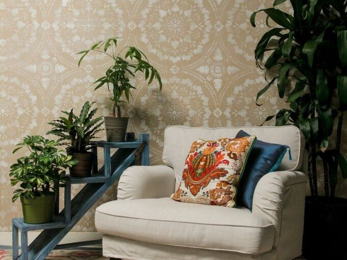 diy stencil tutorial paint a linen fabric wall finish, how to, painting, reupholster, wall decor