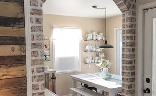 diy faux brick tutorial, concrete masonry, dining room ideas, how to, living room ideas