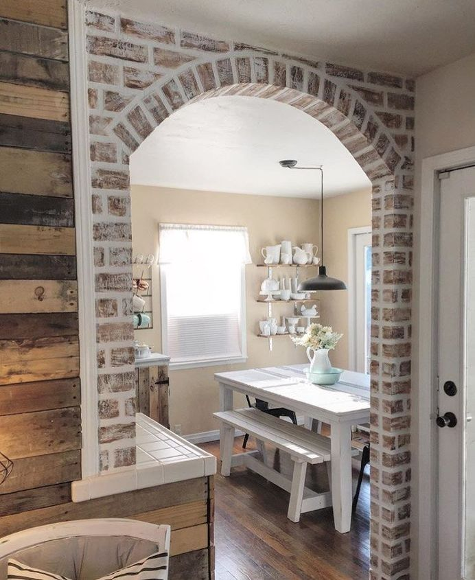 diy faux brick tutorial, concrete masonry, dining room ideas, how to, living room ideas