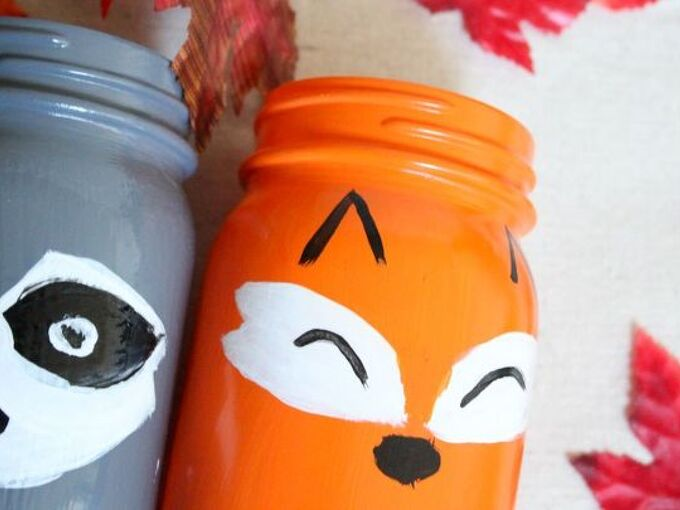 fox and racoon painted mason jars, mason jars