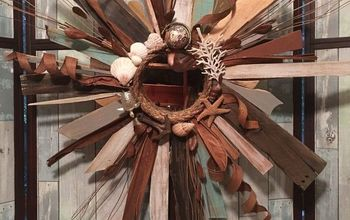 Nautical/Coastal Reclaimed Wood Sunburst Mirror
