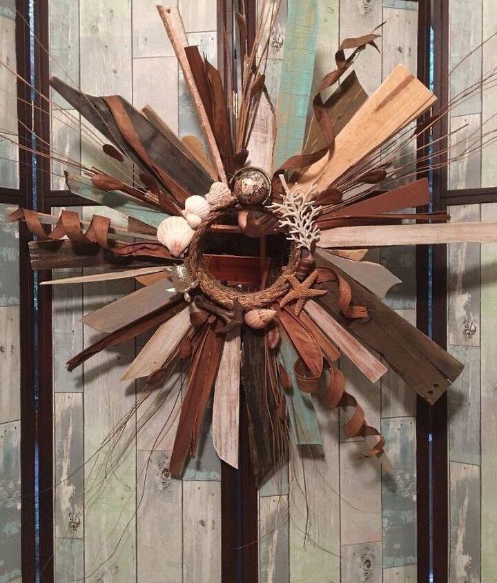 nautical coastal reclaimed wood sunburst mirror, home decor