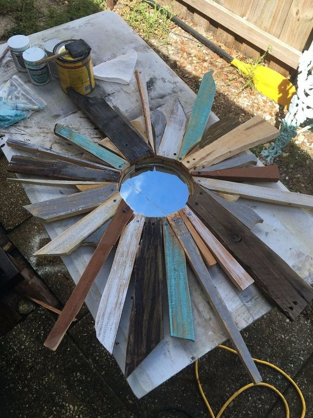 nautical coastal reclaimed wood sunburst mirror, home decor