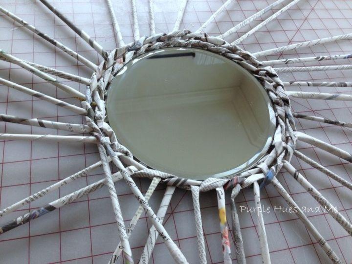 diy newspaper framed mirror, crafts, home decor, repurposing upcycling
