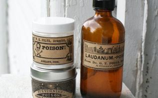 diy halloween vintage poison apothecary bottles, halloween decorations, seasonal holiday decor