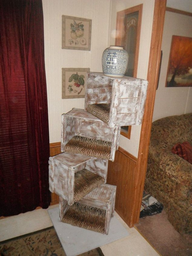 cat tree with crates, repurposing upcycling