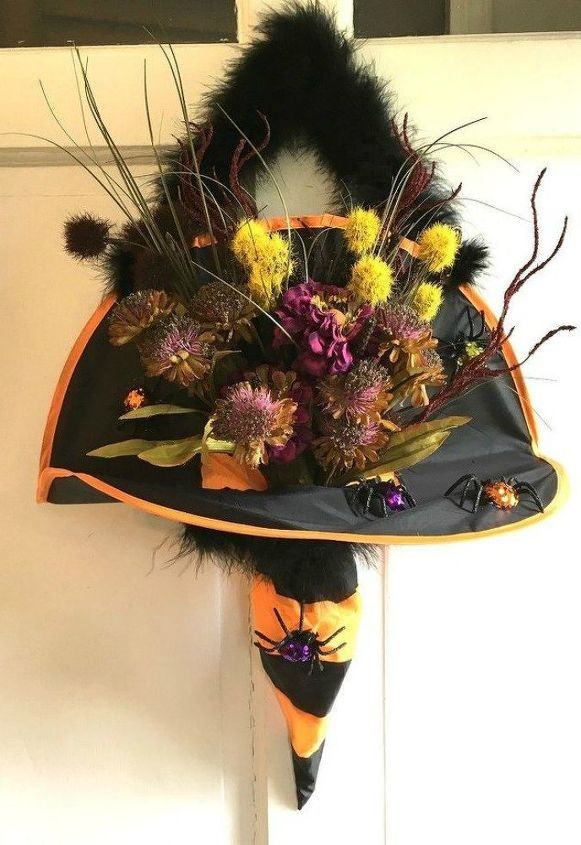 s tired of wreaths try these ideas instead , crafts, wreaths, Place some flowers in a witch s hat