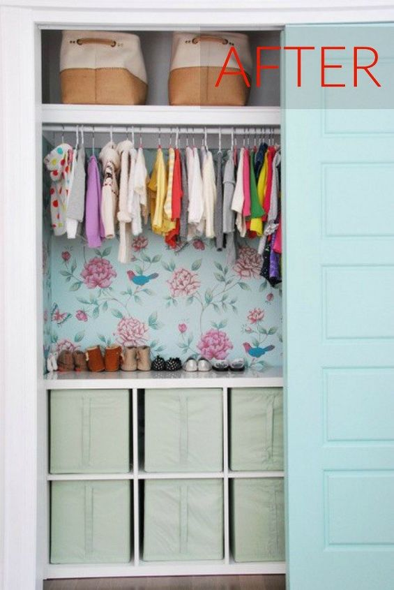 s your quick catalog of gorgeous closet makeover ideas, closet, After A pretty printed pattern wall