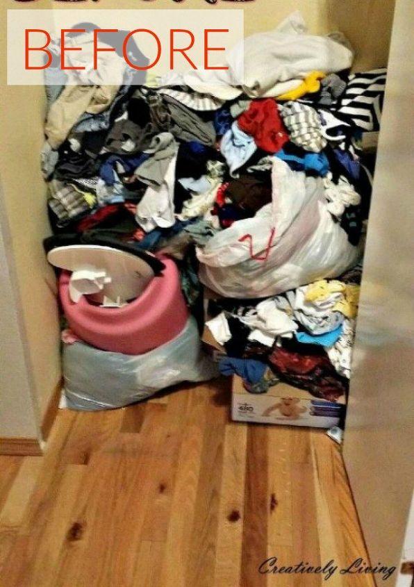 s your quick catalog of gorgeous closet makeover ideas, closet, Before A coat closet turned storage dump