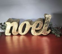 3d metallic holiday sign, crafts, home decor, repurposing upcycling, seasonal holiday decor