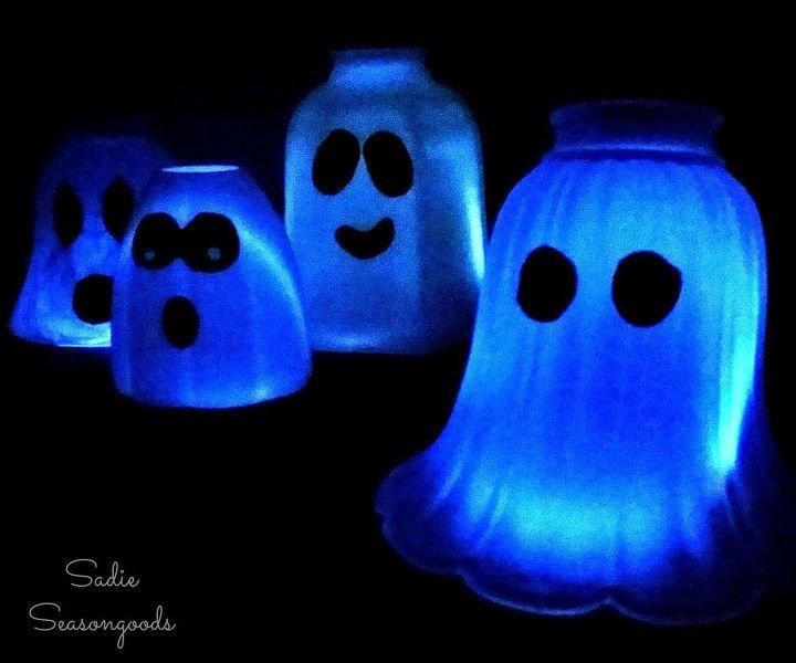 glass light globe shade ghosts, crafts, diy, lighting, repurposing upcycling, seasonal holiday decor