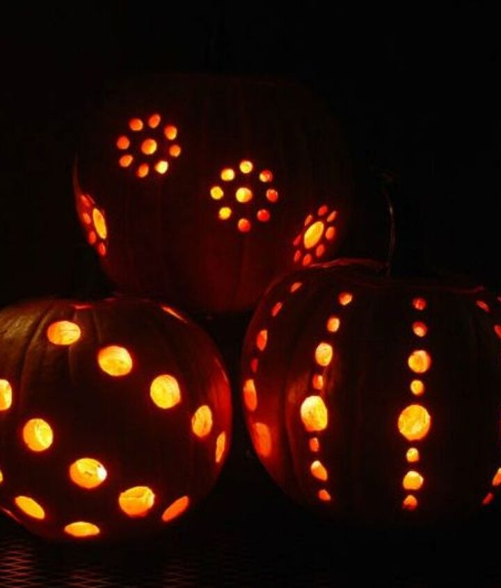 s 13 popular ways to decorate a pumpkin with little or no carving, Carve them with a drill