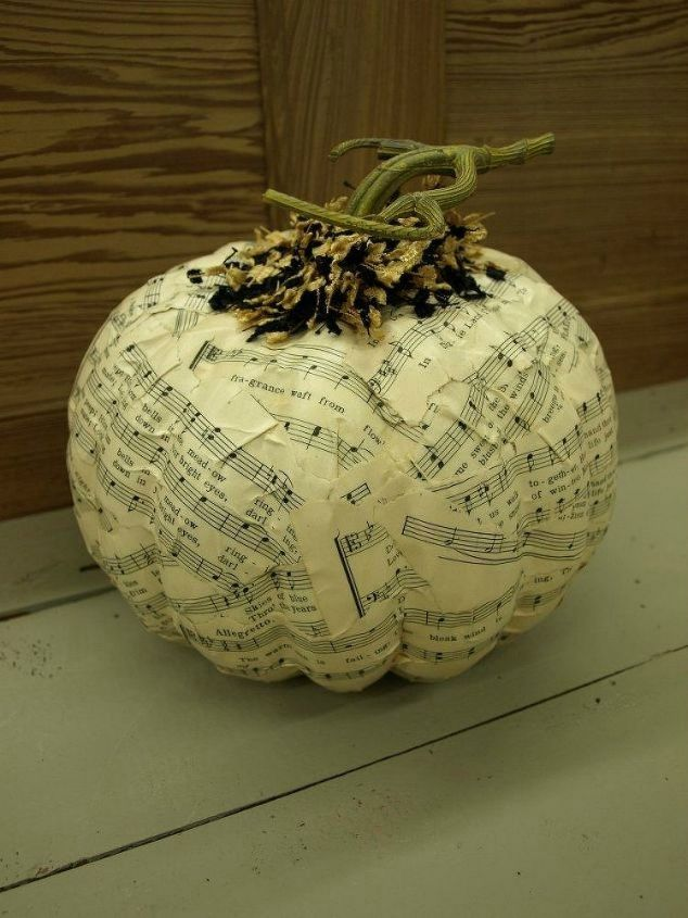 s 13 popular ways to decorate a pumpkin with little or no carving, Mog Podge music note sheets