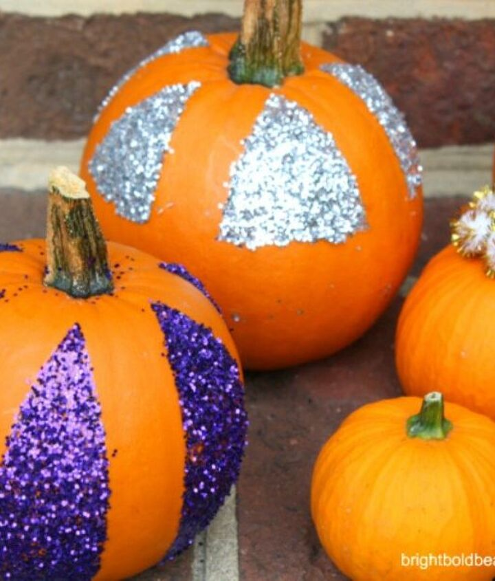 s 13 popular ways to decorate a pumpkin with little or no carving, Pour on glitter for some sparkle