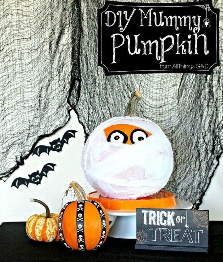 s 13 popular ways to decorate a pumpkin with little or no carving, Create a mummy pumpkin with ripped strips