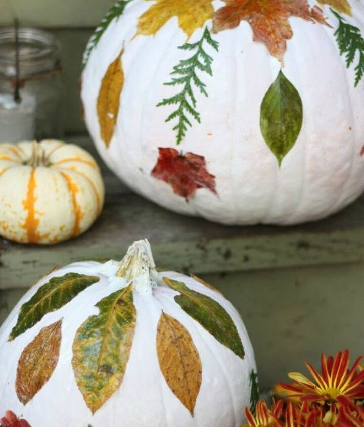 s 13 popular ways to decorate a pumpkin with little or no carving, Mod podge colorful fall flowers