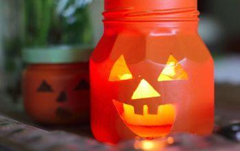 jack o lantern jars, crafts, halloween decorations, outdoor living, patriotic decor ideas, repurposing upcycling