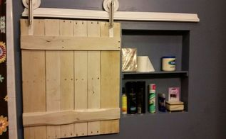 small barn door for adding extra storage space to small bathroom, bathroom ideas, doors, outdoor living, storage ideas