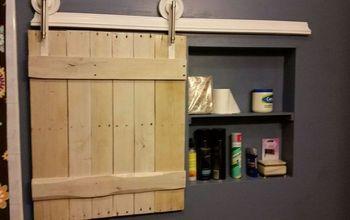 small barn door for adding extra storage space to small bathroom, bathroom ideas, doors, outdoor living, storage ideas