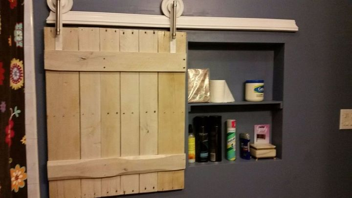 small barn door for adding extra storage space to small bathroom, bathroom ideas, doors